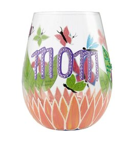 Lolita (Enesco) Stemless Wine Glass Mom, You Helped Me Fly