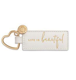 Katie Loxton Sentiment Heart Keyring White Life is Beautiful