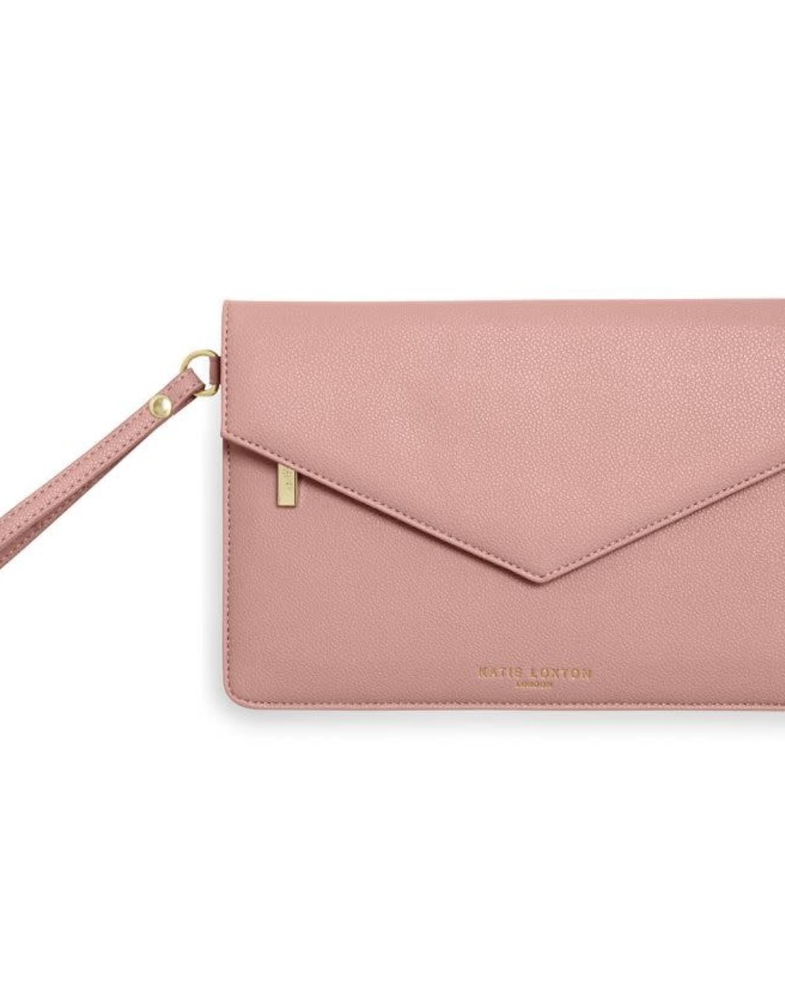 Katie Loxton Esme Envelope Clutch Live Laugh Love Pink