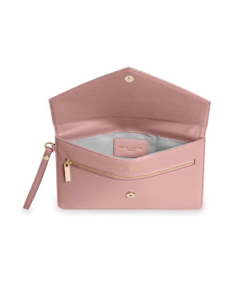 Katie Loxton Katie Loxton Esme Envelope Clutch Live Laugh Love Pink