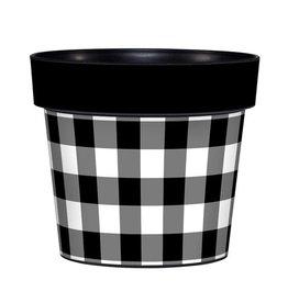 """Studio M Art Pot 6"""" Black and White Check"""