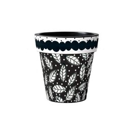 """Art Planter Small 12"""" Black and White Leaves"""