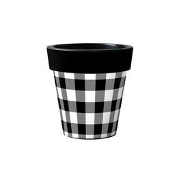 "Art Planter Small 12"" Black and White Check"