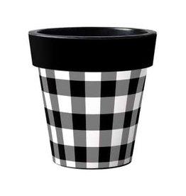 "Art Planter Medium 15"" Black and White Check"