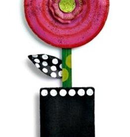 Door Screening Pink Circle Flower in Pot