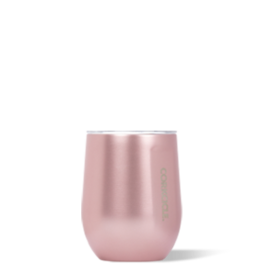 Corkcicle Stemless- 12oz Wine Glass Rose Metallic