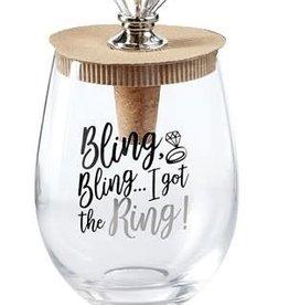 Wine Glass & Topper Bride Got the Ring