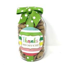 Oh Sugar *Oh Sugar 10oz Cookie Jar Thank You Thanks so Much Stripe