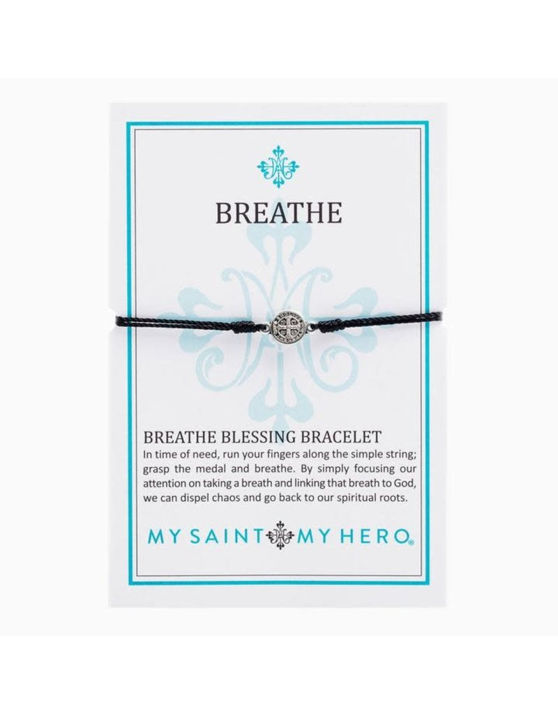 My Saint My Hero Breathe Bracelet Silver Silver/Black