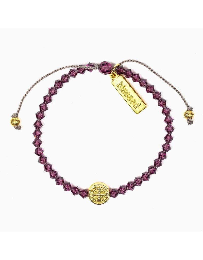My Saint My Hero Birthday Blessing Bracelet February - Gold
