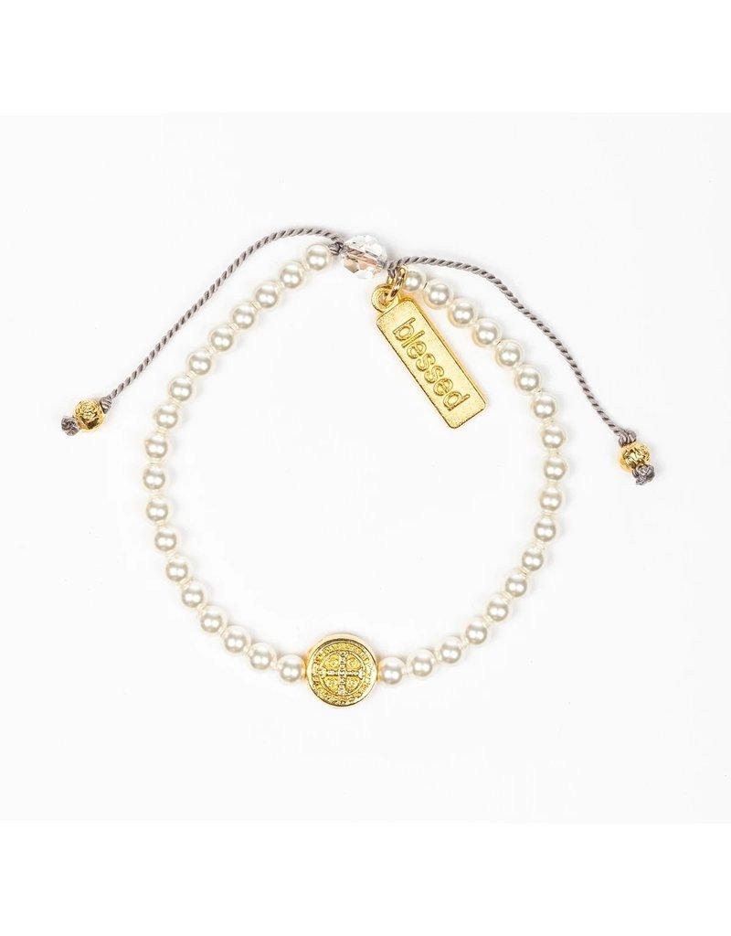 My Saint My Hero Birthday Blessing Bracelet June - Gold
