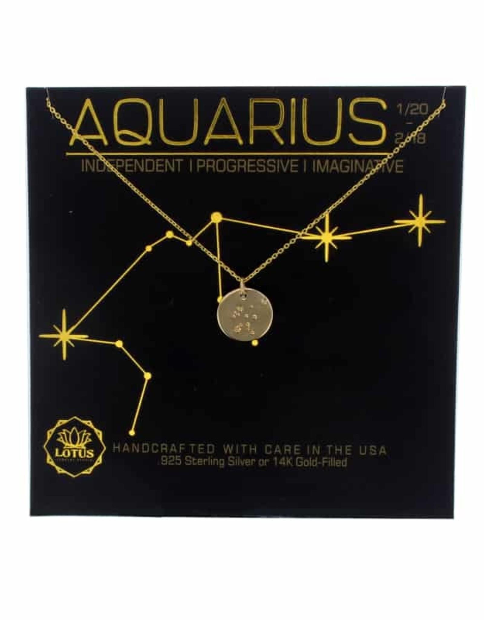 Lotus Jewelry Gold Zodiac Necklace Aquarius