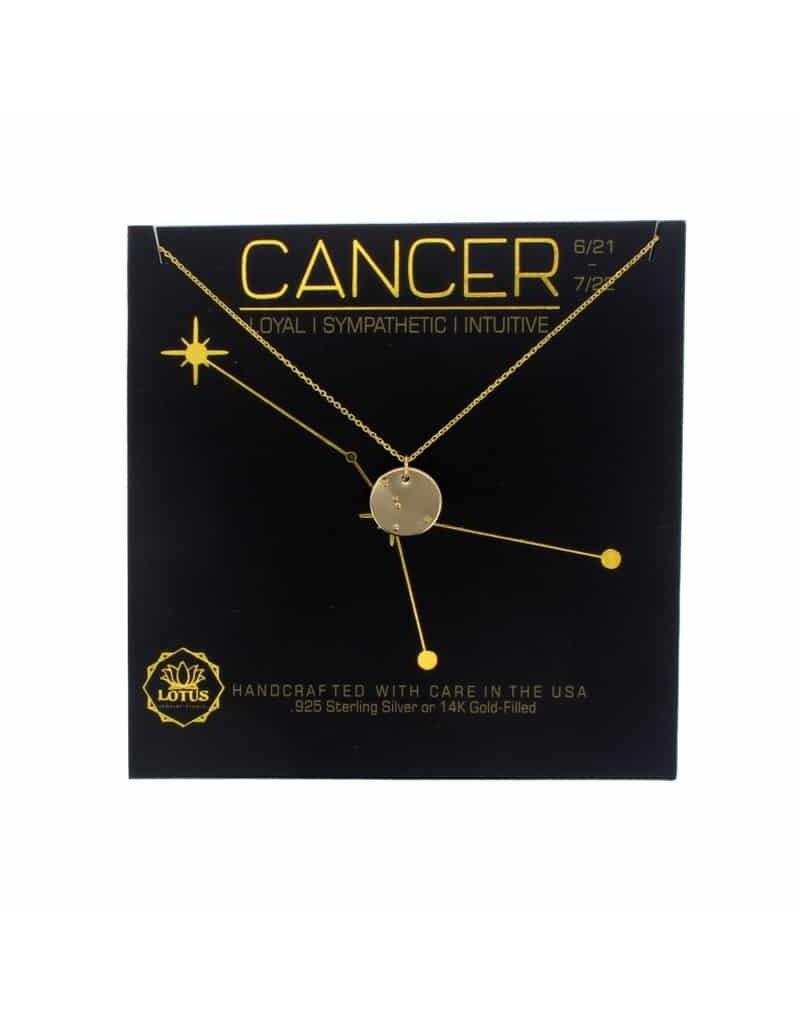 Lotus Jewelry Gold Zodiac Necklace Cancer