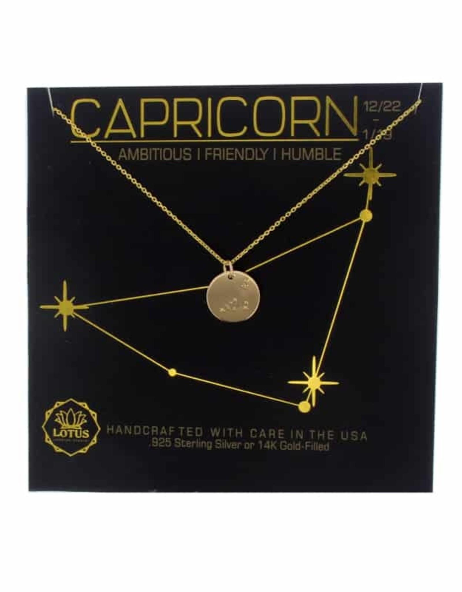 Lotus Jewelry Gold Zodiac Necklace Capricorn