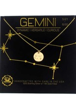 Lotus Jewelry Gold Zodiac Necklace Gemini