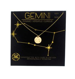 Lotus Jewelry Gold Zodiac Necklace Gemini