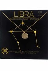 Lotus Jewelry Gold Zodiac Necklace Libra
