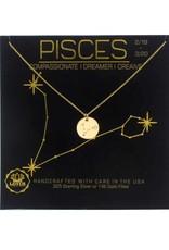 Lotus Jewelry Gold Zodiac Necklace Pisces