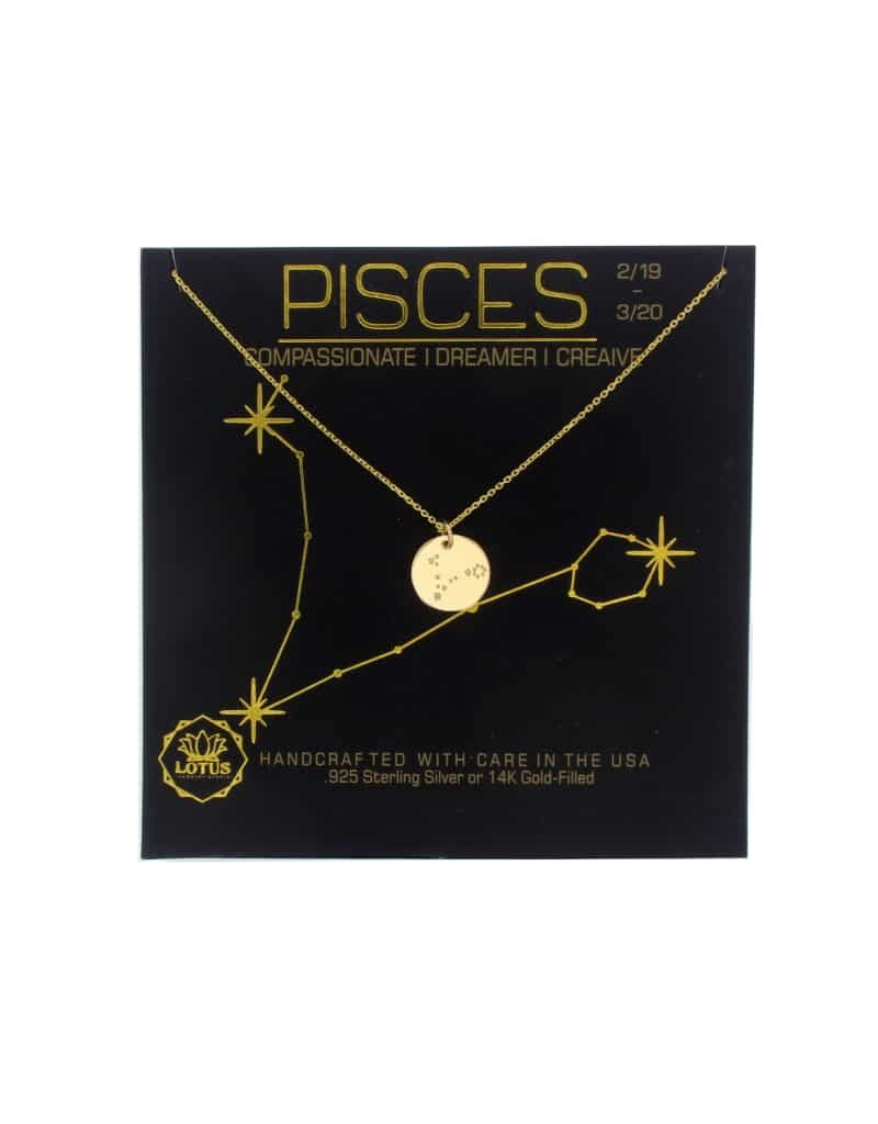 Lotus Jewelry Gold Zodiac Necklace Pisces