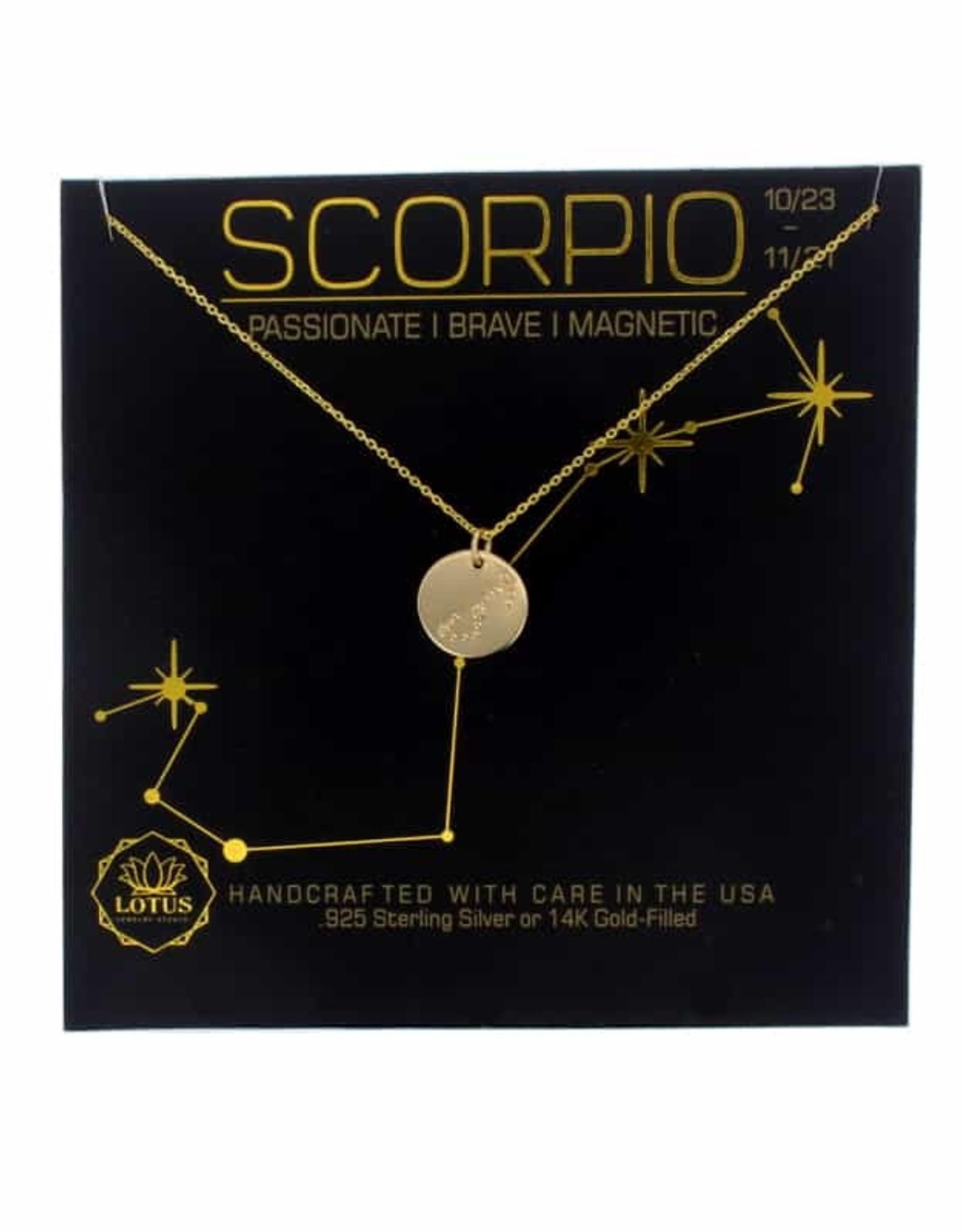 Lotus Jewelry Gold Zodiac Necklace Scorpio
