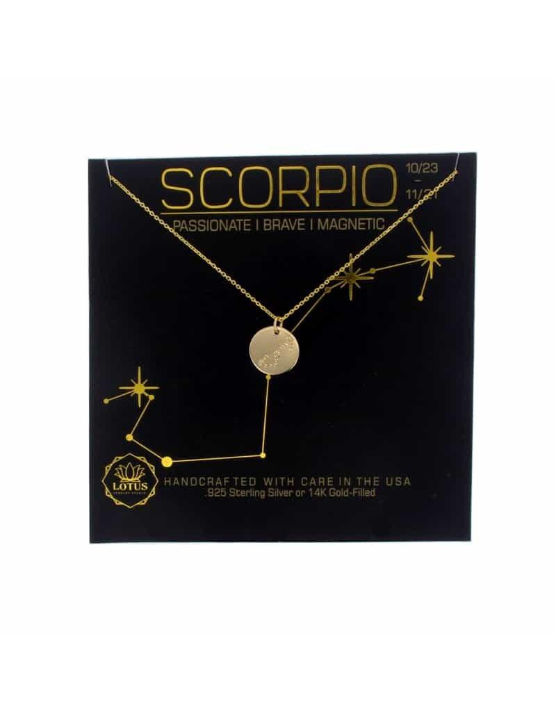 Lotus Jewelry Gold Zodiac Necklace Scorpio
