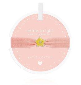 Katie Loxton Children's Hair Tie Bracelet Shine  Bright Star Pale Peach
