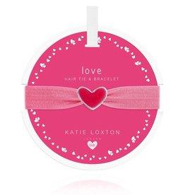 Katie Loxton Children's Hair Tie Bracelet Love Heart Pink