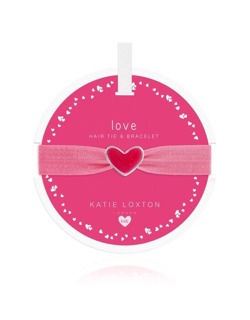 Katie Loxton Katie Loxton Children's Hair Tie Bracelet Love Heart Pink