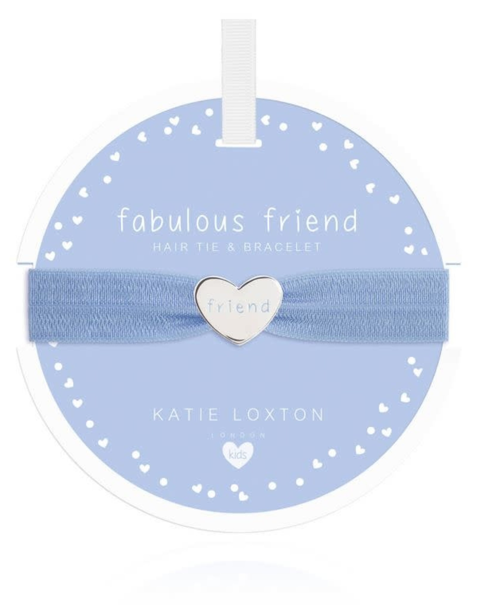 Katie Loxton Children's Hair Tie Bracelet Fabulous Friend Heart Blue