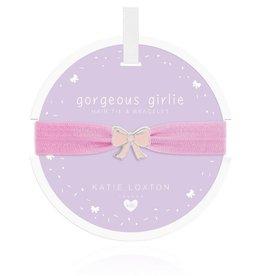 Katie Loxton Children's Hair Tie Bracelet Gorgeous Girlie Bow Lilac