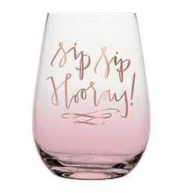 Slant Stemless Wine- Sip Sip Hooray