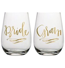 Slant Stemless Wine Set- Bride & Groom