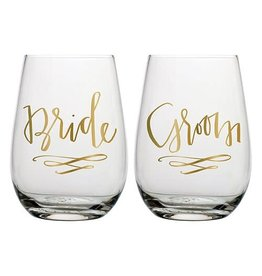 Stemless Wine Set- Bride & Groom
