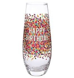 Slant Champagne Flute- Birthday Confetti