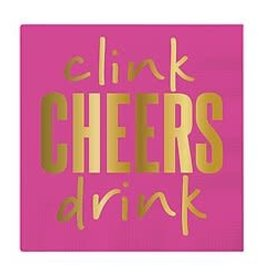 Slant Bev Napkin- Clink Cheers Drink