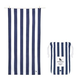 Quick Dry Towel Large Striped Navy