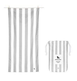 Quick Dry Towel Large Striped Light Grey