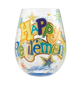 Stemless Wine Glass Happy Retirement