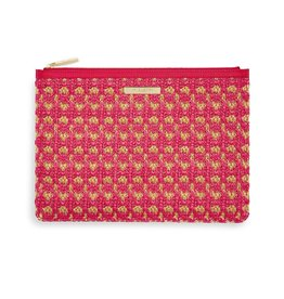 Katie Loxton Willow Straw Clutch Hot Pink