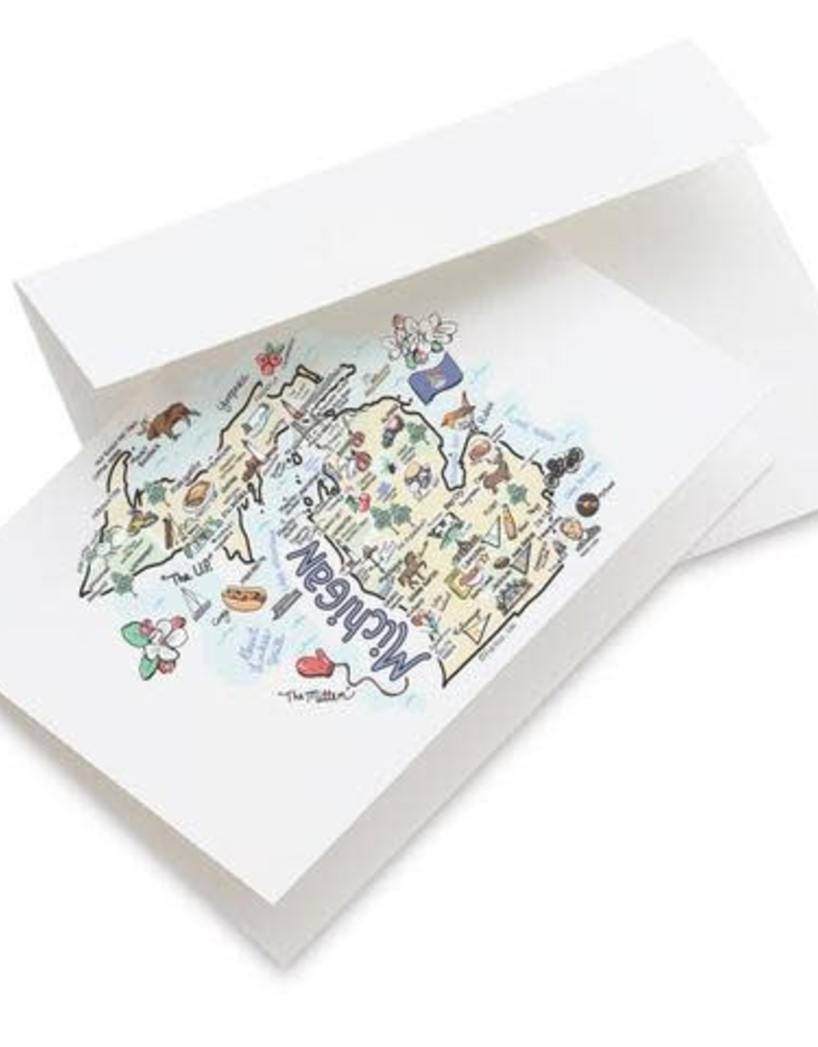 Fish Kiss Michigan Map Greeting Card