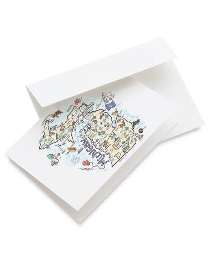 Michigan Map Greeting Card