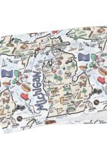 Fish Kiss Michigan Map Tea Towel
