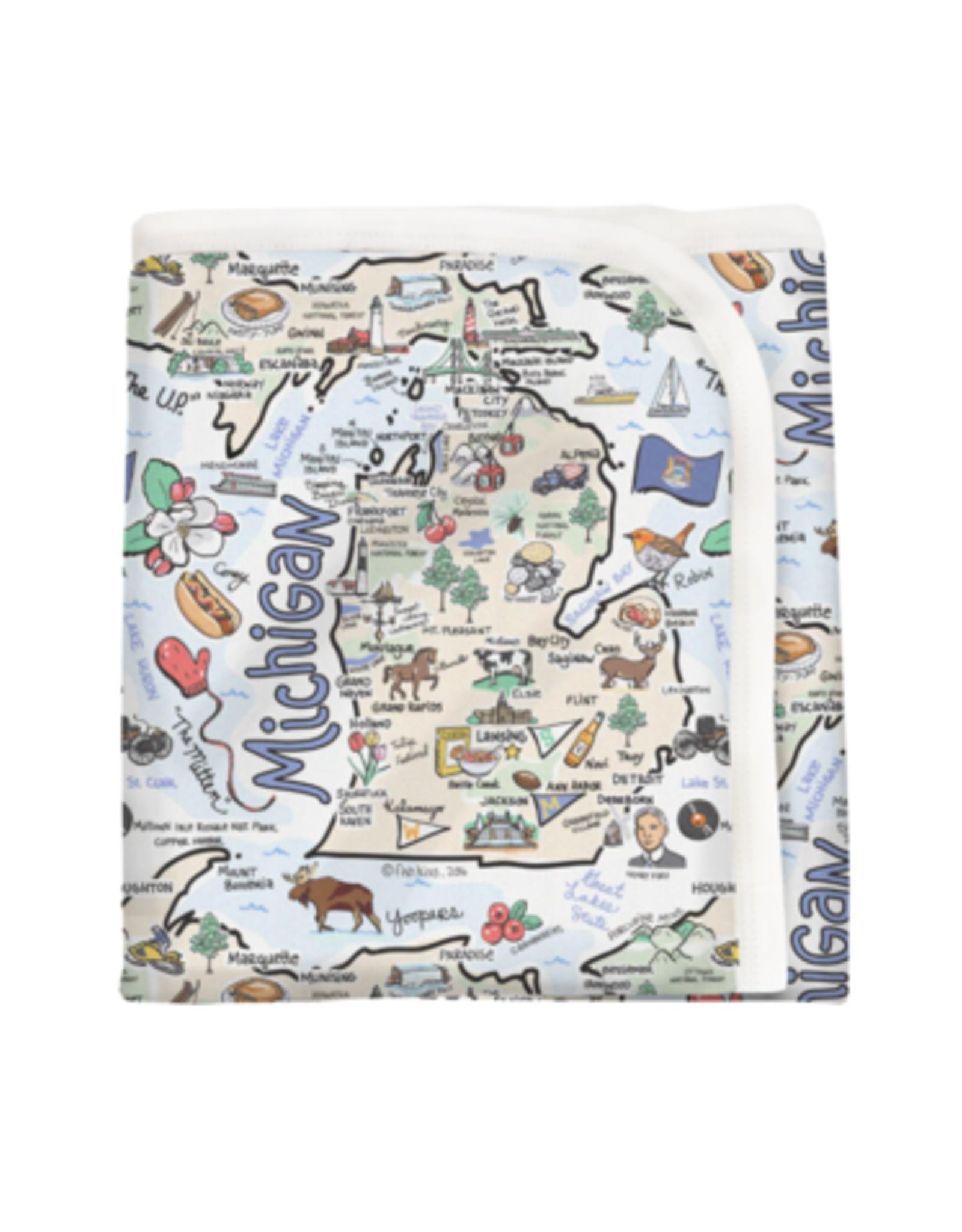 Fish Kiss Michigan Map Baby Blanket