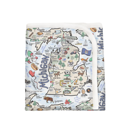 Fish Kiss Michigan Map Baby Blanket