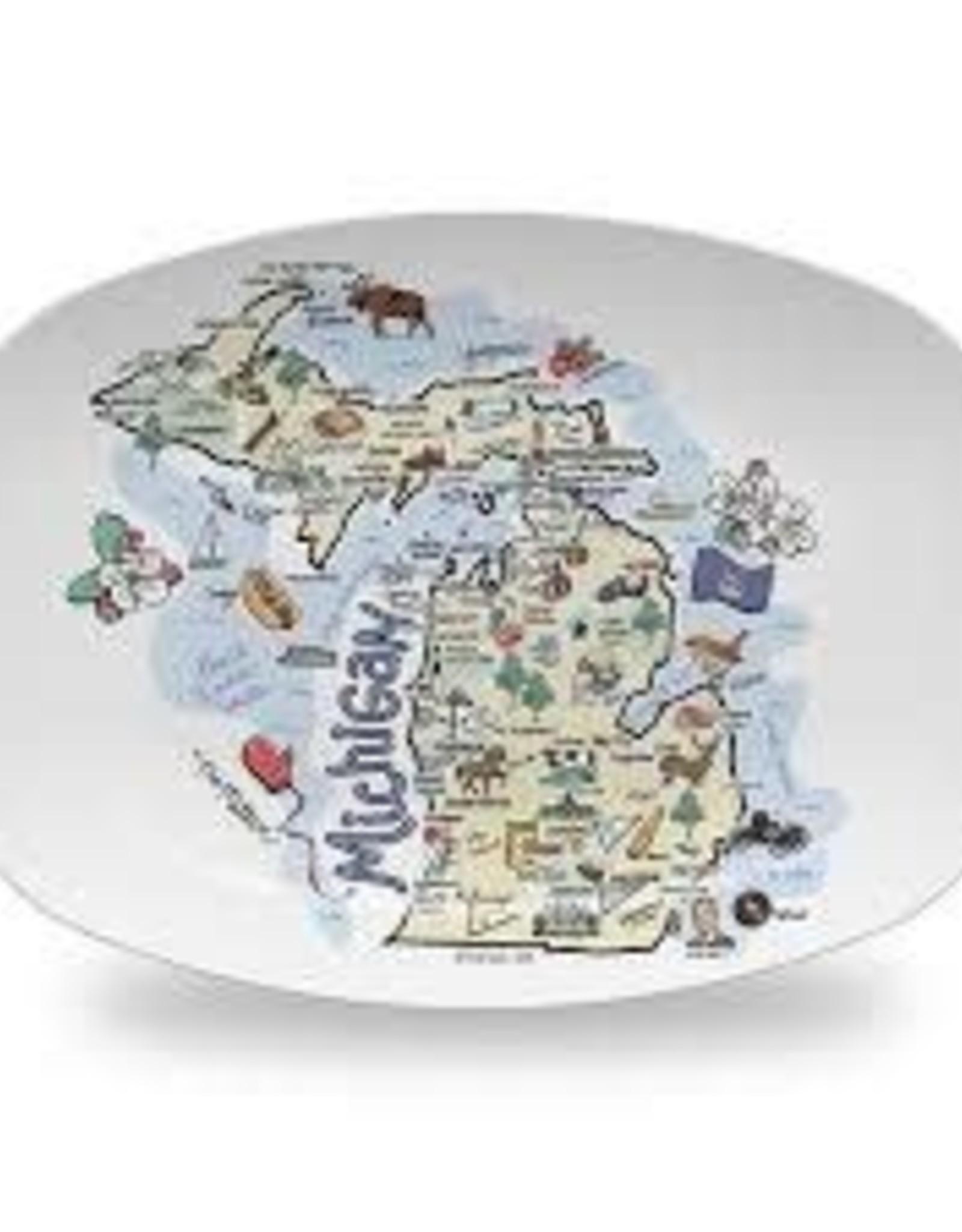 Fish Kiss Michigan Map Platter 10x14