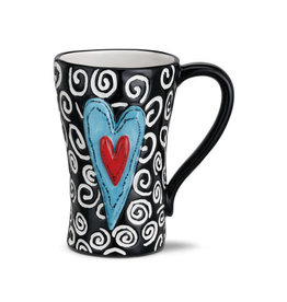 Heart Mug White Swirls