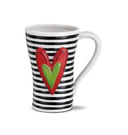 Demdaco Heart Mug Black Stripes