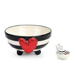 Demdaco Heart Candy Stripe Bowl with Spoon Set