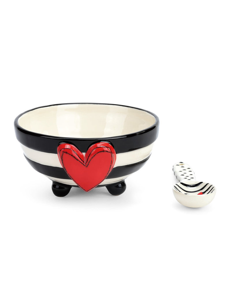 Heart Candy Stripe Bowl with Spoon Set