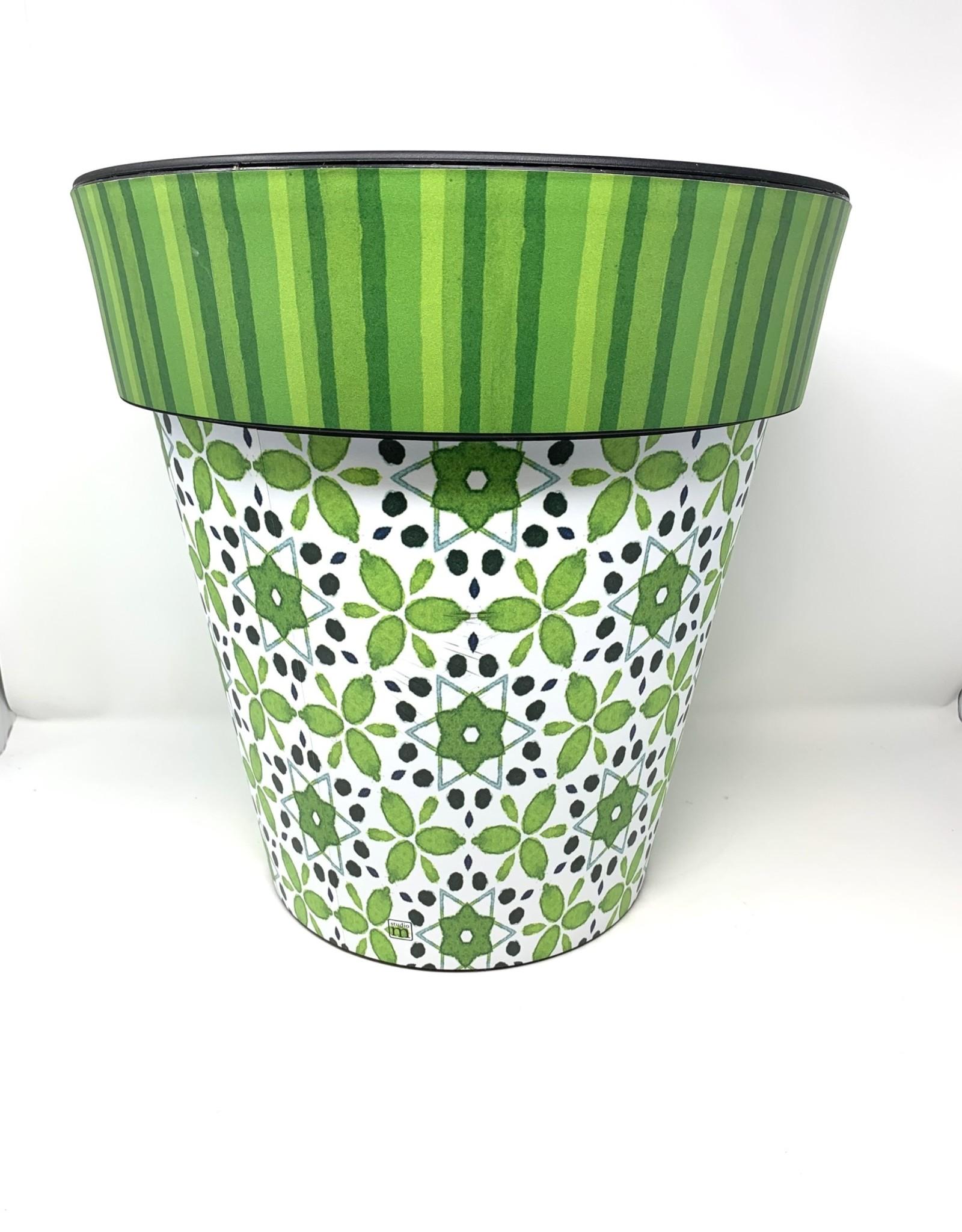 """Art Planter Medium 15"""" Green Petal"""